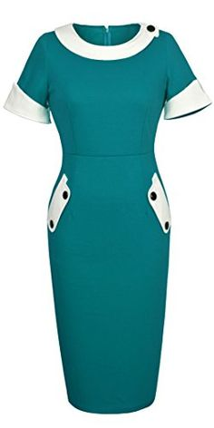Homeyee Women's Vintage Cotton Bodycon Pencil Dress U832 -- For more information, visit image link.