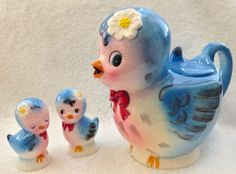 Vintage Blue Bird Teapot and Salt and Pepper Shakers