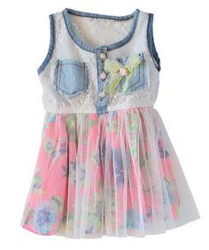 Toddler Girl Denim Lace and Floral Skirt Bottom Dress