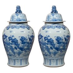 Blue and White Vases with Lids of the  Minguo period (1912-1949) large porcelain containers.  $7000