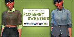 """weepingsimmer: """"🌺 Foxberry Sweaters 🌺The only thing that seems to bring me joy atm is making custom content lol, so instead of enjoying all the pups n kitties the new ep gave me, I'm making cc. Do not judge. These tops were separated from a fullbody. Maxis, Sims 4 Pets, Sims 4 Mm Cc, The Sims 4 Download, Sims 4 Update, Sims 4 Cc Finds, Sims Mods, The Sims4, Sims 4 Custom Content"""