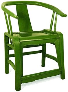 Antique Chinese Furniture, Pagoda Red, Lacquered Chair  Hubbie just bought this chair for us, unfortunately ours is merely a wood finish not this fun green color.  Oh well...