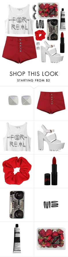 """""""Strawberry Tint"""" by laura-lovely ❤ liked on Polyvore featuring Vince Camuto, Monki, Topshop, Rimmel, Aesop and FRUIT"""