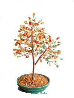 Arbre en pierres fines et perles de rocaille : Accessoires de maison par botanic-perles