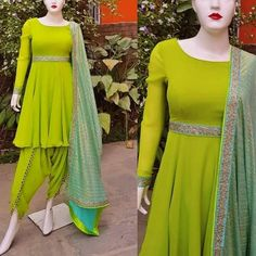 Buy Lime Color Dhoti Kurta by Akanksha Singh at Fresh Look Fashion Simple Pakistani Dresses, Pakistani Dress Design, Salwar Designs, Kurti Designs Party Wear, Blouse Designs, Frock Fashion, Fashion Dresses, Indian Designer Outfits, Designer Dresses