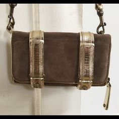 Rebecca Minkoff small clutch/wallet New never used, Detachable studded strap, Velcro closures, suede body and interior, super cute but a bit cumbersome to open, on the upside no one will ever be able to pickpocket you Rebecca Minkoff Bags Clutches & Wristlets