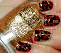 red/black/gold leopard nails