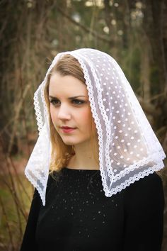 Evintage Veils~ White Chapel Veil  (Small) ~ Traditional Catholic Lovely Vintage Inspired Mantilla