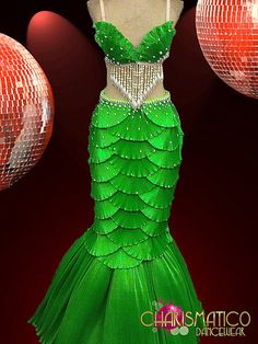 "Charismatico Dancewear Store -  Green Satin ""Scaled"" Shell Bra and Mermaid Tail Showgirl Burlesque Skirt, $290.00"