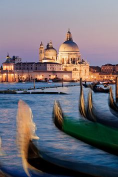 Gondola boats sway with the movement of the sea with the Church of la Madonna della Salute glowing under the floodlights in the background.