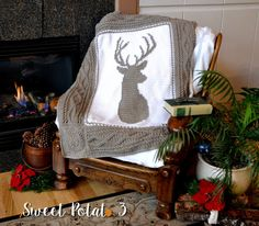 The Deerly Beloved Blanket is a unique design, full of rich texture and features the popular deer silhouette that pops. This is a show stopper blanket that everyone is going to love. The blanket has a very detailed frame that features twisting cables and a striking diamond