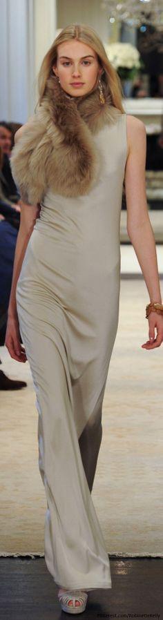 simple, sleeveless, full-length sheath dress with a fur flourish - Ralph Lauren | Pre-Fall 2014