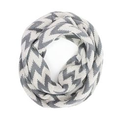Chevron Knit Infinity Scarf - Grey