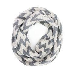 Chevron Knit Infinity Scarf - Grey