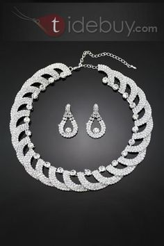 Perfect Alloy with Rhinestone Wedding Jewelry Set
