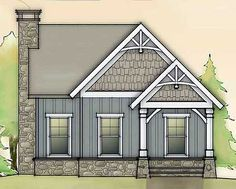Small Craftsman Cottage Plan | 804 sq ft. 2 bed 2 bath | 26w × 31d