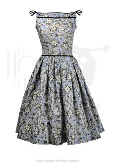 50s Audrey Swing Dress - cornflower