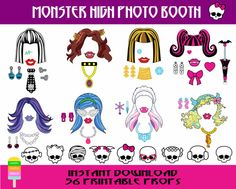 Monster High Photo Booth Props–56 Pieces-Printable Girl Party Props-Monster High Birthday Props-Monster High Dolls-Instant Download
