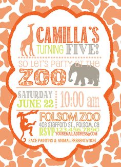 Custom ZOO birthday invitation, boys birthday, girls birthday, first birthday, animals, primary colors, JPEG only
