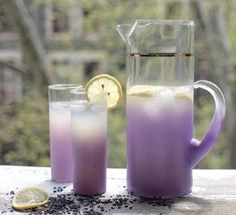 Lavender Lemonade: 4 cups water 4 fresh lemons, squeeze and strain (leave some pulp) 1 tbsp dried lavender buds 1/8 cup raw blue agave nectar Pour 1 cup boiling water over lavender buds. Cover and steep for 10 minutes. Combine remaining 3 cups of water with lemon juice and mix with steeped lavender water. Add agave nectar and stir… Chill before serving.