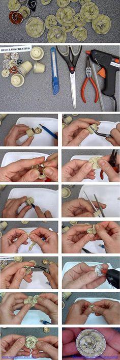 Infographic cómo hacer flores con cápsulas de café