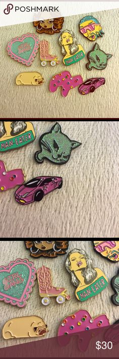 ❗️FIRM❗️9 Unique Enamel Pins starter pack!!! These are all enamel pins I bought from various Etsy retailers, great for starting your collection! Soooo amazing and cute! Riff Raff, 90s wink kitty, pink Lamborghini, frosted animal cracker, pug, pink cowboy boot, girl gang heart, man eater, and chola! They will all come with backs. Price is firm for the whole set, I only want to sell them together. (Super deal)! No trades! **unif for views tags: kawaii, Barbie, girlie, glitter, punk, princess…