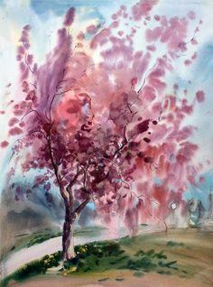 Paysage peinture à l'aquarelle avec des arbres au printemps - droit d'auteur : Denys Kuvaiev