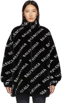Long sleeve faux-fur insulated jacket in black. Logo pattern printed in white throughout. Zip closure at front. Balenciaga Jacket, Balenciaga Clothing, Bandana Design, Printed Denim, Faux Fur, Zip, Designer Hoodies, Casual Outfits, Men Casual