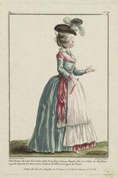 1780 Cette Femme est vetuë d'un Levite ajusté, Ceint d'une Echarpe blanche, elle a un Tablier de Mousseline à grand volant, dit a la Gouvernante. Chapeau de Paille teinte, garni de Plumes.