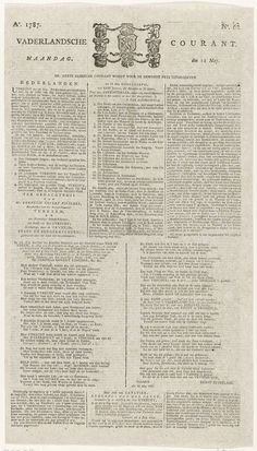 Vaderlandsche Courant van 21 mei 1787, Ernst Zeydelaar, 1787