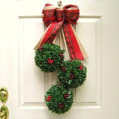 Christmas Wreath, Holiday Wreath, Boxwood Holiday Door Swag for Christmas Décor, Christmas Wreath Alternative, Topiary Door Decor