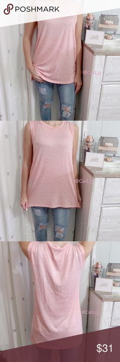 """Coral Marled Tank Top 💎NEW💎 Super soft side slit top in coral, marled fabric. Such a pretty color for Summer and comfy, too! Small slide slit as shown in last photo(approx. 3"""")Sizes S/M/L. Measurements for Bust and Length: 🎀S:Bust/ 38""""-L/26.5""""🎀M:Bust/40""""-L/27.5""""🎀L:Bust/42""""-L/28"""". Bundle 2+ items to save 10%. Spend $140+ and get FREE shipping! 🤑🛍 {🚫🚬🚫🐶} Tops Tank Tops"""