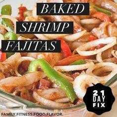 21 Day Fix Baked Shrimp Fajitas -- a quick and easy weeknight healthy meal! 21 Day Fix Baked Shrimp Fajitas -- a quick and easy weeknight healthy meal! Seafood Recipes, Mexican Food Recipes, Dinner Recipes, Cooking Recipes, Healthy Recipes, Dinner Ideas, 21dayfix Recipes, Fixate Recipes, Mexican Dishes