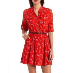 Red Floral Skater Dress by Charlotte Russe. Buy for $28 from Charlotte Russe