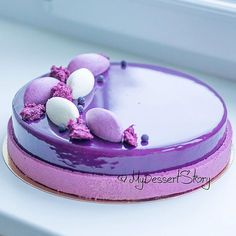 By by dessert… Blackcurrant & champagne entremet. Beautiful Desserts, Beautiful Cakes, Amazing Cakes, Fancy Desserts, Fancy Cakes, Decoration Patisserie, Mirror Glaze Cake, Mirror Cakes, Mousse Cake