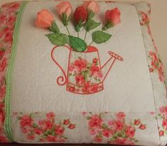Or you can make the pillow with a watering can holding machine embroidered rose buds. Embroidery Software, Machine Embroidery Patterns, Watering Can, Rose Buds, Cross Stitch Embroidery, Pattern Design, Applique, Bloom, Romantic