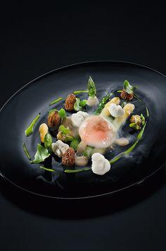 Spargel und Morcheln mit pochiertem Ei und Trüffelsauce