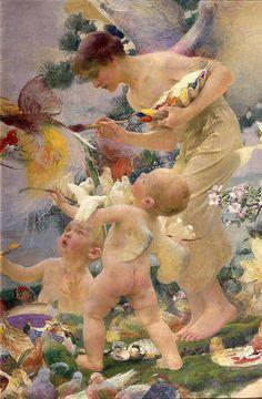 "Franz Dvorak (Austrian, 1862-1927), ""Painting the Birds"""