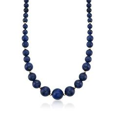 A statement in a classic style: 6-13mm lapis beads display natural flecks of pyrite that add a hint of shimmer. Necklace finishes with 14kt yellow gold spacers and fishhook clasp. Lapis bead necklace. Free shipping & easy 30-day returns. Fabulous jewelry. Great prices. Since 1952.
