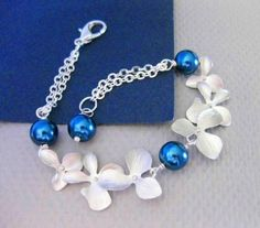 PEACOCK ORCHIDS Bracelet Royal Blue Pearls White Gold Orchids Wedding