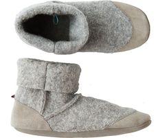 Grey Wool Felt Slippers