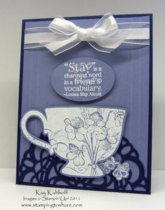 Tea Shoppe--Stamps: Tea Shoppe   Paper: Concord Crush , Wisteria Wonder   Ink: VersaMark   Tools: Big Shot Machine , Paper Doily Sizzlit Die, Heat Tool, Extra Large Oval Punch, Simply Scored Scoring Tool   Accessories: White Embossing Powder, White Organza Ribbon  Adhesives: Multipurpose Liquid Glue, Stampin' Dimensionals