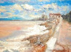 """Lovely Place"" by Katie Hurley. Oil on canvas landscape painting of a beach in Cancun Mexico."