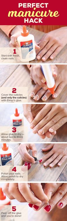Give yourself a perfect at home manicure with this easy hack. Apply Elmer???s glue to your cuticles and start polishing. Take a look for step-by-step instructions and more tips.