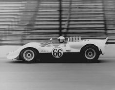 Jim Hall testing at Indianapolis in 1965, at the invitation of Firestone. Hall was turning laps at an average speed of 145 mph.  This was largely due to the wrong gearing for the track. Hall was sure that with the correct gearing and a little aero work, he could run several seconds faster. That would be fast enough to put the Chaparral near the front of the grid for the Indy 500 that year.... George Moore photo.