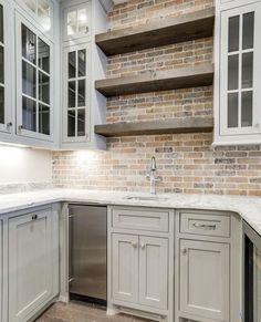 Kitchen Redo, Home Decor Kitchen, Rustic Kitchen, Kitchen Backsplash, New Kitchen, Home Kitchens, Kitchen With Brick, Kitchen Cabinetry, 10x10 Kitchen