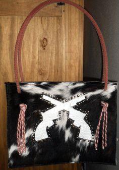 Western Cowhide Purse Pistol Gun Lariat Rope Handle Purse Handbag