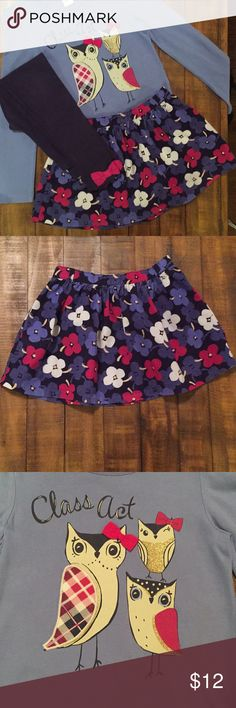 "Gymboree outfit / bundle size 6 - 7 Super cute owl outfit from Gymboree. Bundle includes floral corduroy skirt that is in perfect condition with no defects size 6, long sleeve shirt and leggings that both have some wash wear / minor fading. Shirt has a small (1/4"") tear on left sleeve as shown in last picture.  Top and pants are both size 7.  Outfit still looks great and has a lot of life left. Comes from smoke free home. Gymboree Matching Sets"