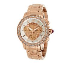 Judith Ripka Stainless Steel Chronograph Textured Watch with Diamonique - J269939 — QVC.com