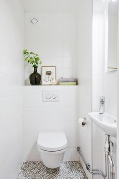 Restroom Restoration Suggestions: washroom remodel cost, shower room ideas for tiny washrooms, tiny bathroom style ideas. Bathroom Inspiration, Tiny Bathroom Makeover, Laundry In Bathroom, Small Toilet Design, Bathroom Design, Toilet Design, Tile Bathroom, Toilet For Small Bathroom, Bathroom Layout
